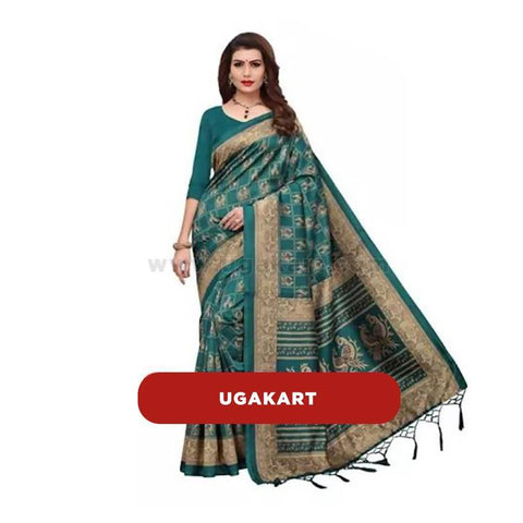 Dark Green Cotton Designer Saree