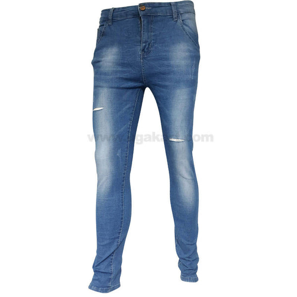 Blue Distressed Slim Fit Skinny Jeans For Mens