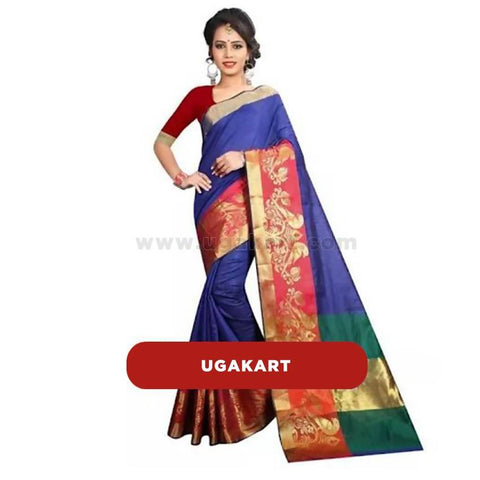 Violet Cotton Saree With Red Blouse