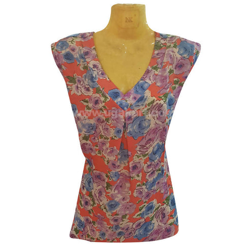Women's Multi Color Floral V-Neck Sleeve less Top