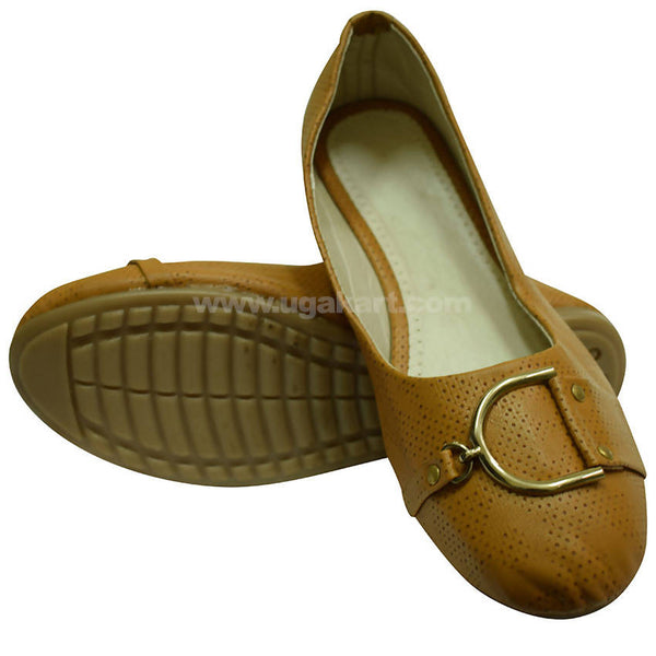 Tan Ballet Flat Shoe For Women