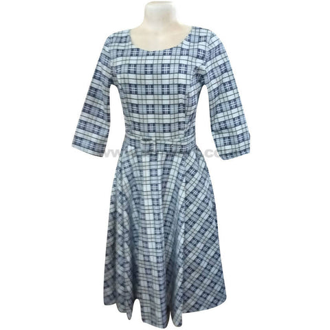 Women's Grey & Navy Blue Square Patterned Mini Dress