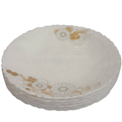 6 Pcs Luminarc Floral Design White Ceramic Plate