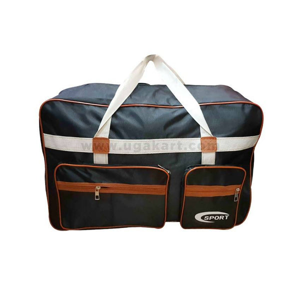 Travel Bag Black And Brown With White Handle
