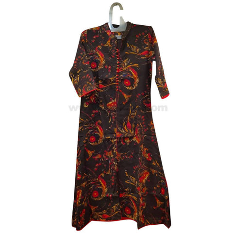 Brown Red Printed Long Dress For Womens