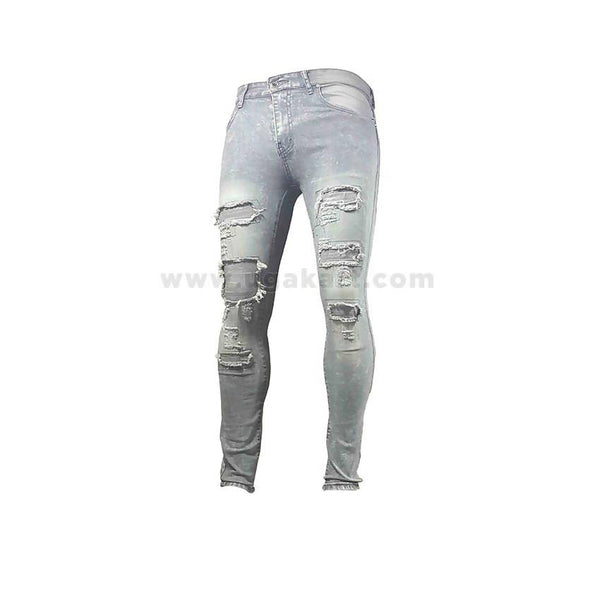 Full Grey Distressed Men's Jeans