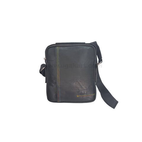 Jeep Zipper Black Unisex Cross Bag