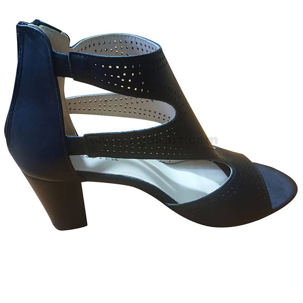 Women's Black Strappy Back Zip-On Heel Shoes