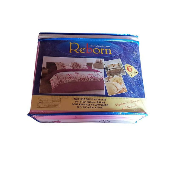 6*6 Reborn 2 Bedsheet With 4 Pillow Cover_White&Pink