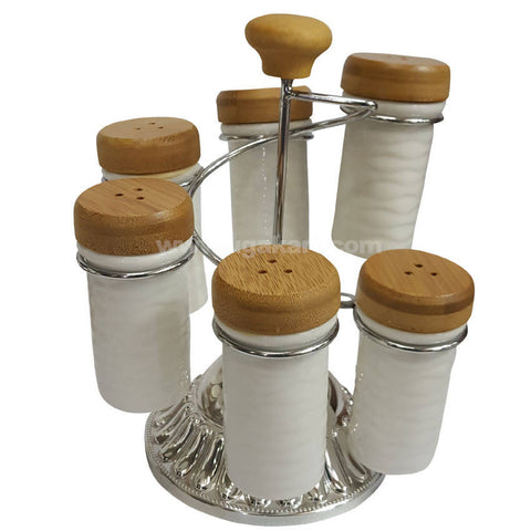 Six Pcs Salt and Pepper Ceramic Shaker With Stand