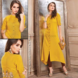 Yellow and Maroon Heavy Rayon Kurti - SIZE : XXL
