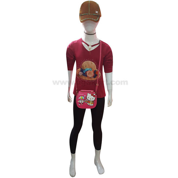 Girl's Red Top & Black Trouser with Cap & Bag (3 to 5 yrs)