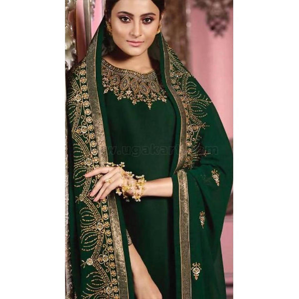 Green Georgette SemiStitched Material Dress (Delivery Within 20days) Size:44