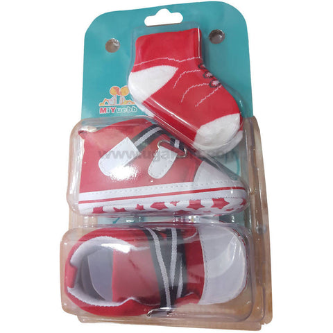 Red Color Shoes Socks Combo For Boys Kids 0 to 6 months
