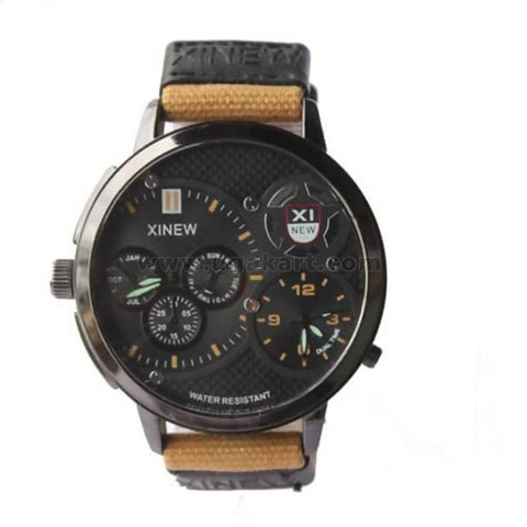 Canvas Strapped Men's Dual Time Watch