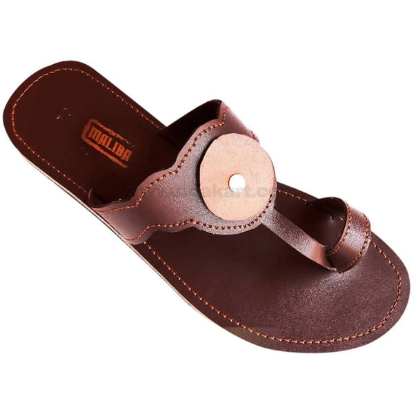 Classic Brown Leather Sandal For Women