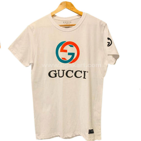 Gucci Men's White Round Neck T-Shirt