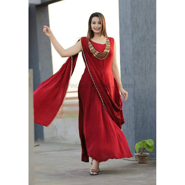 Pure reyon material with pearl border with necklace saree cum gown attached sleeve_XXL(42)