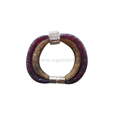 Shiner Bracelet With Magnet - Maroon & Golden