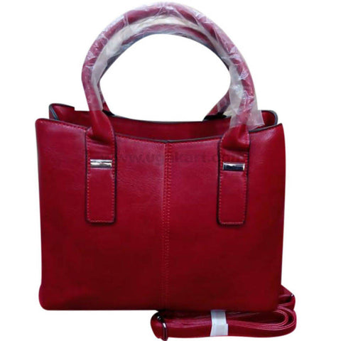 Ladies Red Side Stitched Hand Bag