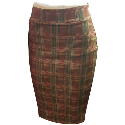 Brown Checked Fit Skirt For Women's