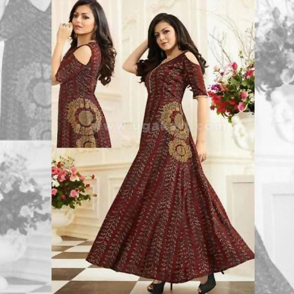 Maroon and Golden Design Long Dress - Size XXL