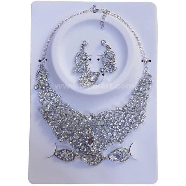 Sliver CJ Stone Necklace Set With Earrings, Bracelet and Rings