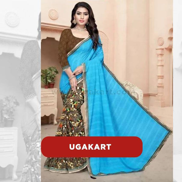 Blue And Brown Printed Bottom Shiffon Saree