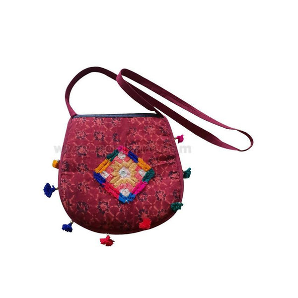 Ladies Fabric Handmade Casual Bag - Maroon