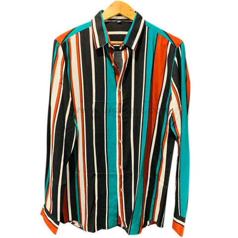 Men's Multi Color Striped Long Sleeve Shirt