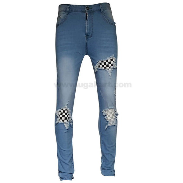 Blue Ripped Checkered Patches Jeans For Mens