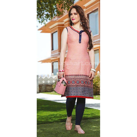 Top Kurti Cotton Material Attached Sleeve, With Blue Legging Full Set- XXL (Bust Size - 40)