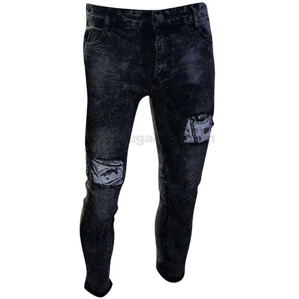 Blue Faded Jeans with White Patches
