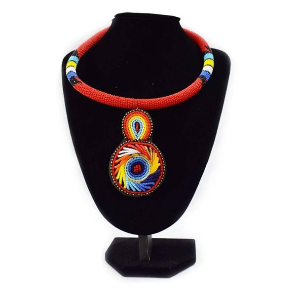 Multicoloured Red Rounded African Necklace
