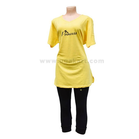 Princess Print T-Shirt Yellow With 3/4 Legging Black Free Size
