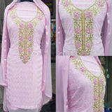 Women's Pink Dress With Cream Design (Dress Material)