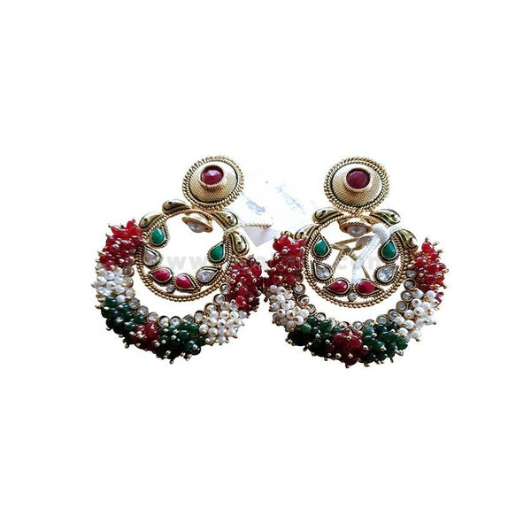 High Quality Earrings With Golden & Green,White & Maroon Pearls