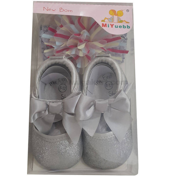 Silver Baby shoes & HeadWarp for New Born