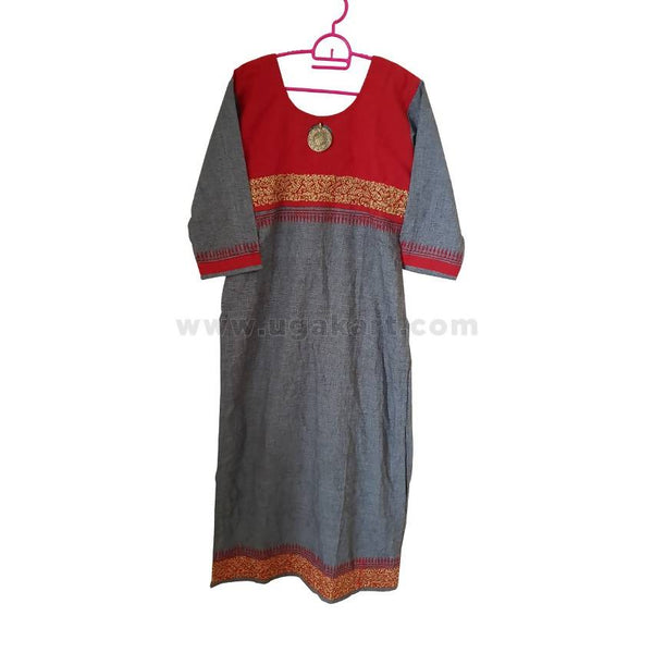 Ladies' Red and Grey Long Sleeve Dress - Size L
