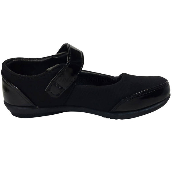 Black Leather Single Belt School Shooes For Girls