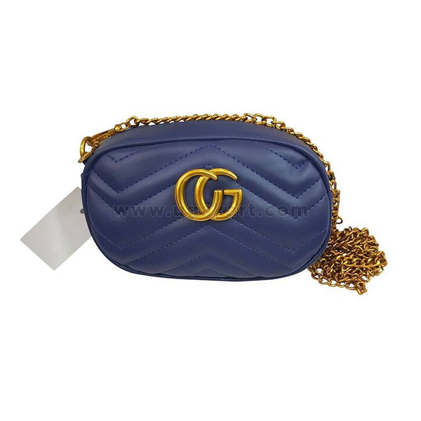 CG Blue Womens wallet With Gloden Chain