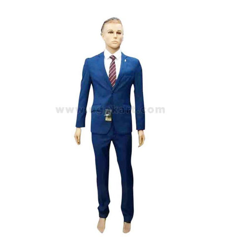 Single Button Blue Suit With White Shirt And Tie