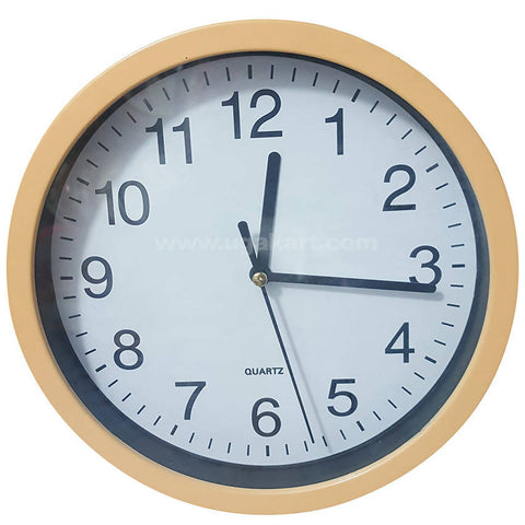 SONAM QUARTZ Tan Brown Frame Round Wall Clock (Small Size)