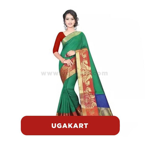Green Cotton Saree With Red Blouse