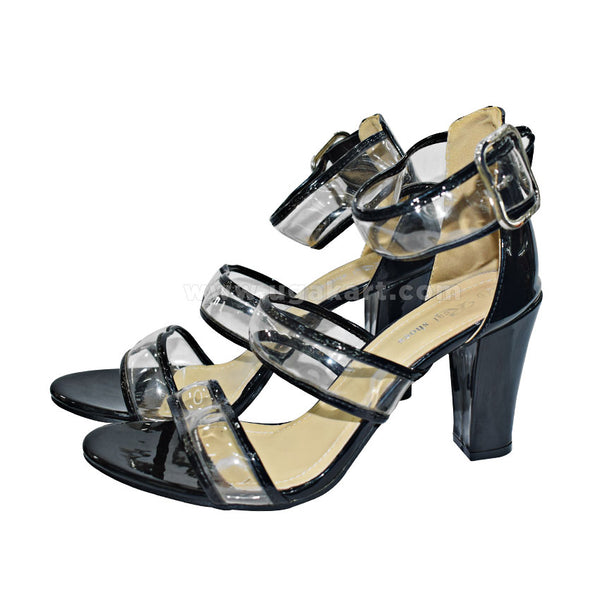 Black And Transparent  Ankle StrapLadies High Heals