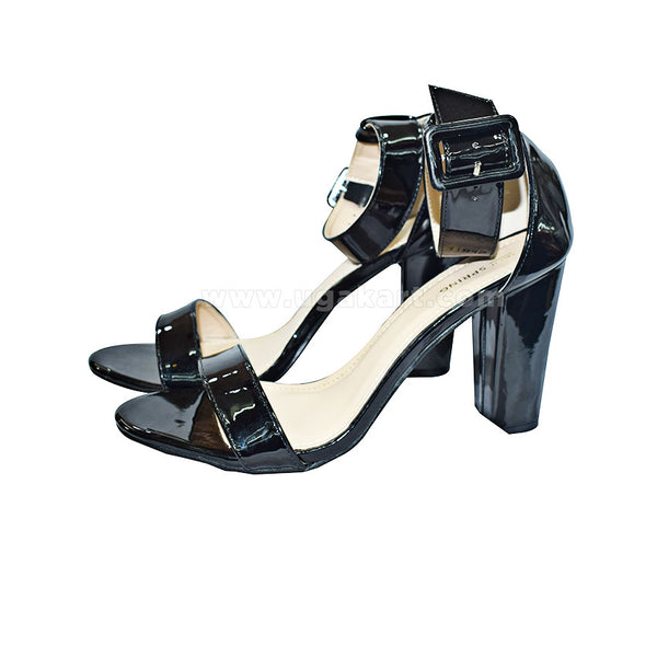 Black Ankle Strap Ladies High Healed Shoes