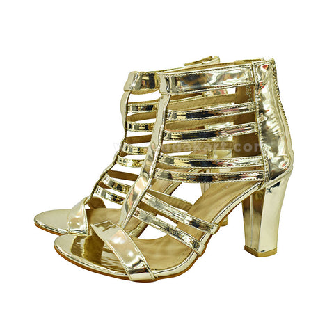 Gold Designer  High Heel Ladies Shoes