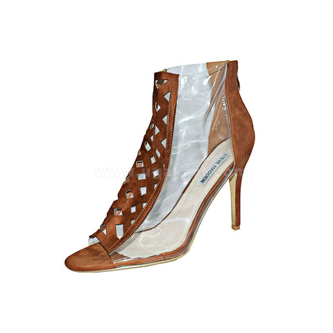 STEVE MADDEN Brown And Transparent Ladies High Healed Shoes