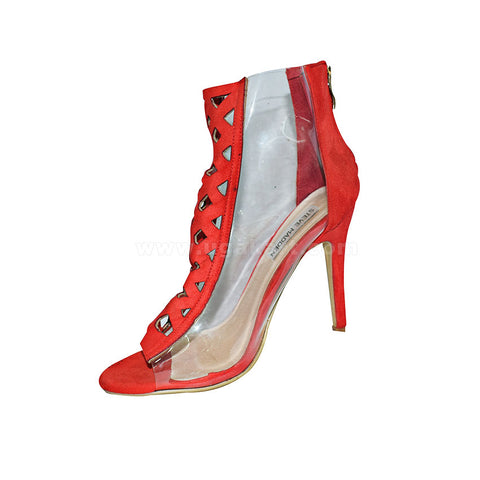 STEVE MADDEN Red And Transparent Ladies High Healed Shoes