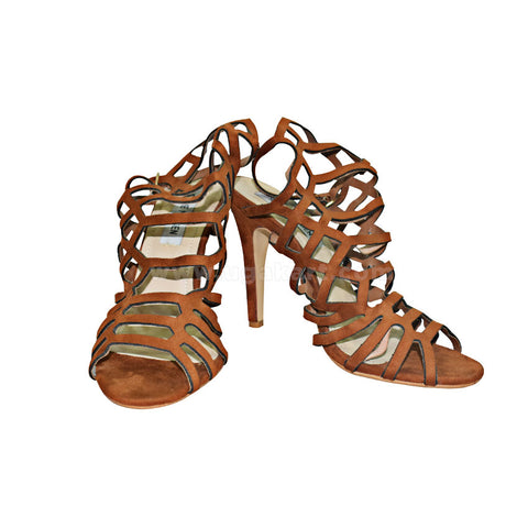 STEVE MADDEN Brown Designer Ladies High Healed Gladiator Shoes